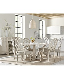 Trisha Yearwood Jasper County Dogwood Round Dining 7-Pc. Set (Table, 4 Side Chairs & 2 Arm Chairs)
