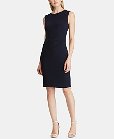 Lauren Ralph Lauren Petite Lace-Trim Ruched Dress