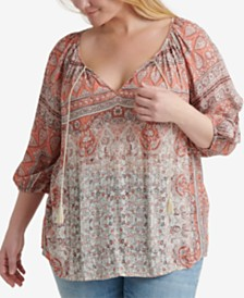 Lucky Brand Plus Size Printed Kelly Peasant Top