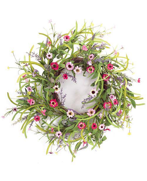 "Melrose Intl Wild Flower Bloom Wreath 32""D"