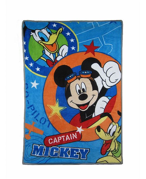 Disney Captain Mickey Mouse and Friends Donald and Pluto Super Soft Toddler Blanket