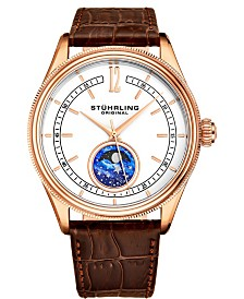 Stuhrling Men's Quartz, Rose-tone Case, White Dial, Brown Leather Strap Watch