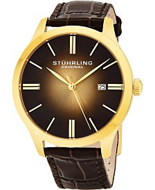 "Stuhrling Stainless Steel Gold Tone Case on Brown Alligator Embossed Genuine Leather Strap, Gold Tone ""Burnt"" Center Dial, with Gold Tone Accents"