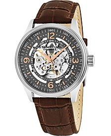 Stainless Steel Case on Brown Alligator Embossed Genuine Leather Strap, Gray Skeletonized Dial, with Rose Tone and White Accents