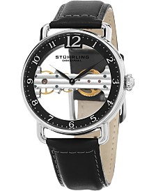 Stuhrling Men's Mechanical Bridge Watch, Silver Tone Case on Black Genuine Leather Strap, Black Skeletonized Dial with Exposed Bridge Movement, Silver Tone and Black Accents