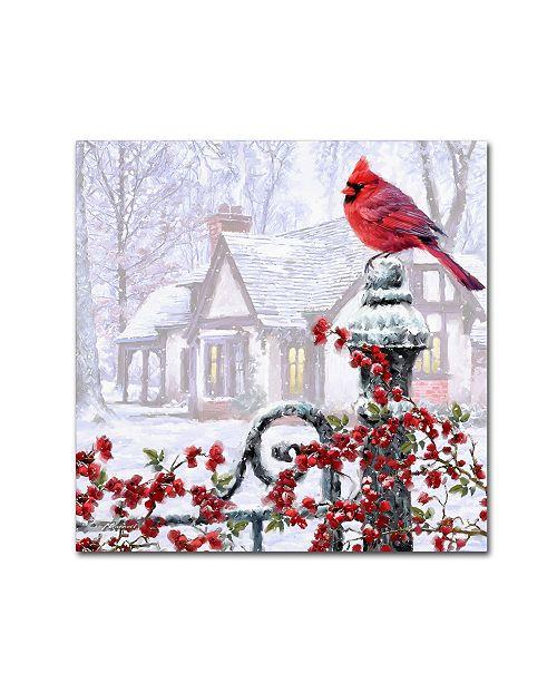 "Trademark Global The Macneil Studio 'Cardinal on Gatepost' Canvas Art - 35"" x 35"" x 2"""