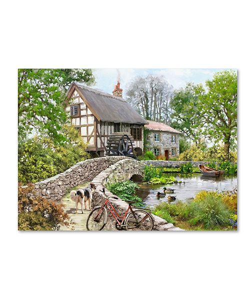 """Trademark Global The Macneil Studio 'Watermill with Rowboat and Dog' Canvas Art - 19"""" x 14"""" x 2"""""""