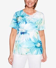 Alfred Dunner Petite Waikiki Floral-Print Embellished Top