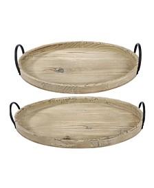 Farmers Market Wooden Trays, Set of 2