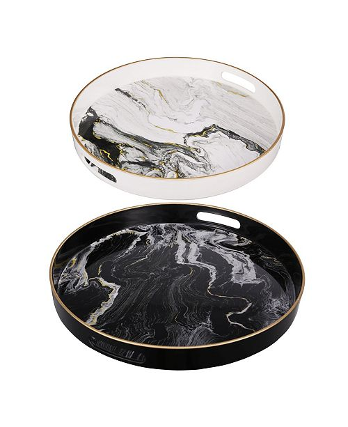 AB Home Quinn Round Trays, Set of 2