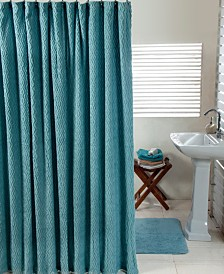 Better Trends Solid Cut Pile and Waves Shower Curtain