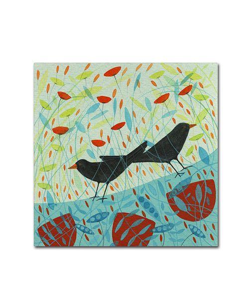 """Trademark Global Michelle Campbell 'Blackbirds' Canvas Art - 14"""" x 14"""" x 2"""""""