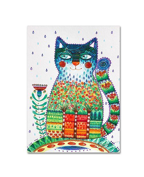 "Trademark Global Oxana Ziaka '1 Rain Cat' Canvas Art - 47"" x 35"" x 2"""