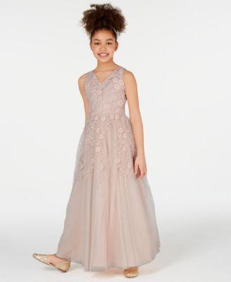 Big Girls Embroidered Mesh Maxi Dress