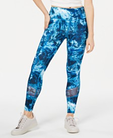 Ideology Oceania Waves Printed Mesh-Trimmed Leggings, Created for Macy's