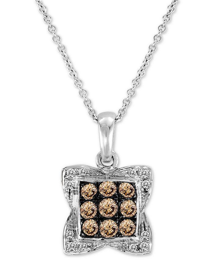 """Le Vian - Chocolate Diamond (3/8 ct. t.w.) & Vanilla Diamond Accent Square Cluster 18"""" Pendant Necklace in 14k White Gold"""