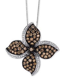 "Le Vian Chocolatier® Diamond Flower 18"" Pendant Necklace (2-5/8 ct. t.w.) in 14k White Gold"