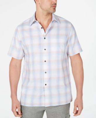 Tasso Elba Mens Dobby Button Up Shirt