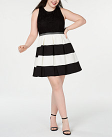 Speechless Trendy Plus Size Striped Fit & Flare Dress
