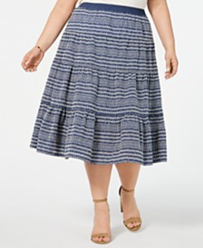 Tommy Hilfiger Plus Size Embroidered Denim Skirt, Created for Macy's