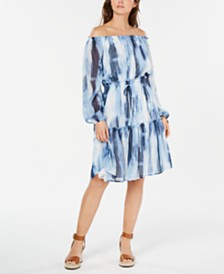 Tommy Hilfiger Tie-Dyed Off-The-Shoulder Dress, Created for Macy's