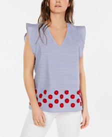 Tommy Hilfiger Cotton Striped Flutter-Sleeve Top and Appliqué Skirt