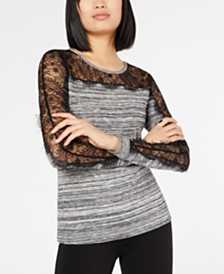 I.N.C. Mixed-Media Top, Created for Macy's