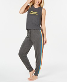 Jenni Ribbed Pajama Tank Top & Pajama Pants, Created for Macy's
