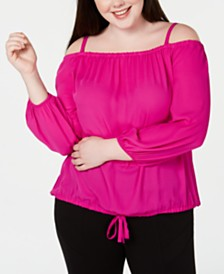 I.N.C. Plus Size Off-The-Shoulder Tie-Front Top, Created for Macy's