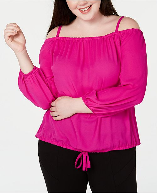 INC International Concepts I.N.C. Plus Size Off-The-Shoulder Tie-Front Top, Created for Macy's