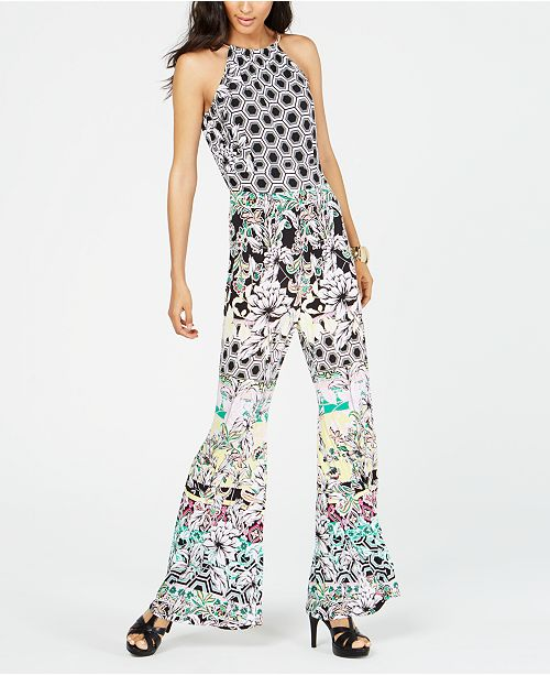 INC International Concepts I.N.C. Printed Necklace-Collar Halter Jumpsuit, Created for Macy's