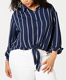 Plus Size Striped Tie-Hem Blouse, Created for Macy's
