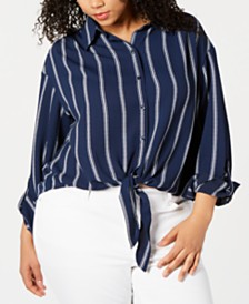 Charter Club Plus Size Striped Tie-Hem Blouse, Created for Macy's