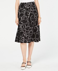 Alfani Printed A-Line Midi Skirt, Created for Macy's