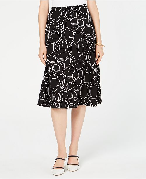 Alfani Petite Printed Midi Skirt, Created for Macy's