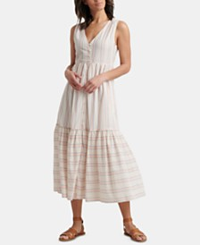 Lucky Brand Cotton Luna Button Through Sleeveless Dress