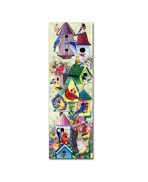 "Trademark Global Jenny Newland 'Birdhouses and birds tower' Canvas Art - 47"" x 16"" x 2"""