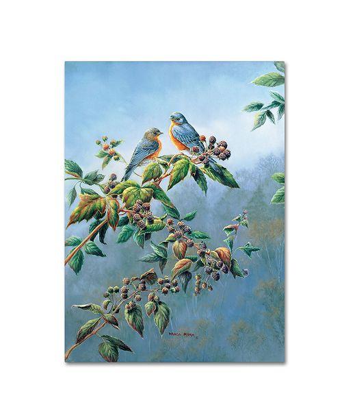 "Trademark Global Wanda Mumm 'Bluebirds' Canvas Art - 24"" x 18"" x 2"""