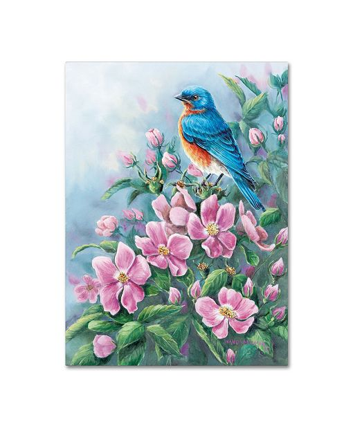 "Trademark Global Wanda Mumm 'Blue Bird And Wild Roses' Canvas Art - 19"" x 14"" x 2"""