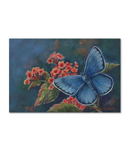 """Trademark Global Wanda Mumm 'Blue Butterfly' Canvas Art - 19"""" x 12"""" x 2"""""""