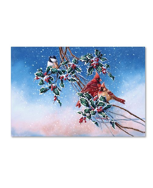 "Trademark Global Wanda Mumm 'Cardinals And Chickadee' Canvas Art - 19"" x 12"" x 2"""