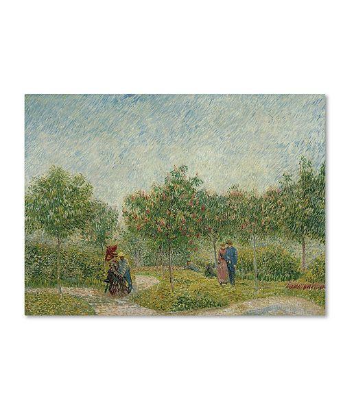 """Trademark Global Van Gogh 'Garden In Montmarte With Lovers' Canvas Art - 32"""" x 24"""" x 2"""""""