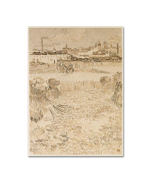 "Trademark Global Van Gogh 'A View From The Wheatfields' Canvas Art - 24"" x 18"" x 2"""
