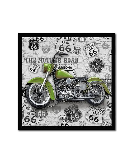 """Trademark Global Jean Plout 'Vintage Motorcycles On Route 66 5' Canvas Art - 14"""" x 14"""" x 2"""""""