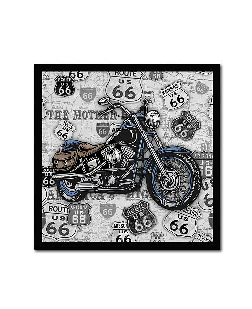 "Trademark Global Jean Plout 'Vintage Motorcycles On Route 66 15' Canvas Art - 14"" x 14"" x 2"""