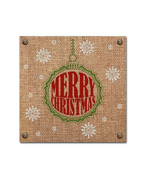 "Trademark Global Jean Plout 'Christmas On Burlap 3' Canvas Art - 24"" x 24"" x 2"""