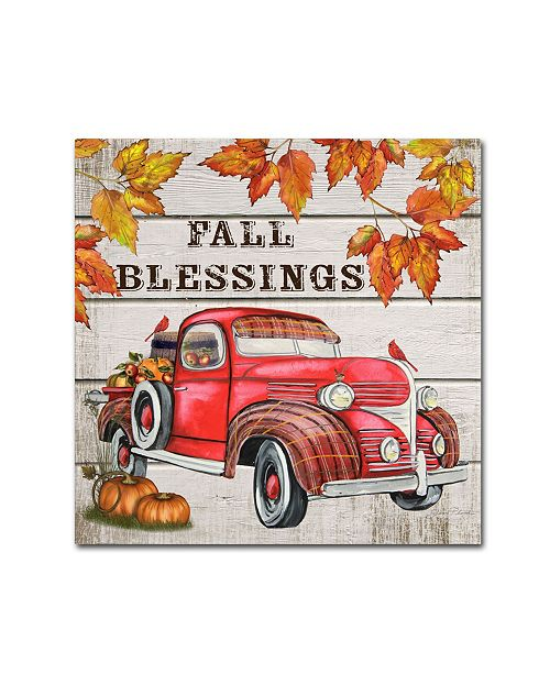 "Trademark Global Jean Plout 'Vintage Fall Truck' Canvas Art - 14"" x 14"" x 2"""