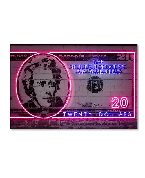 "Trademark Innovations Octavian Mielu '20 dollars' Canvas Art - 47"" x 30"" x 2"""