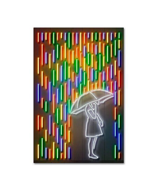 "Trademark Innovations Octavian Mielu 'Rain' Canvas Art - 19"" x 12"" x 2"""