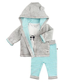 Mac and Moon 3-Piece Set with Hooded Jacket, Short Sleeve Tee and Pants